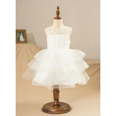 Ball-Gown/Princess Knee-length Flower Girl Dress - Satin/Tulle/Lace Sleeveless Scoop Neck With Lace/Appliques/V Back