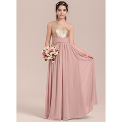 A-Line/Princess One-Shoulder Floor-Length Chiffon Junior Bridesmaid Dress With Ruffle (009130648)