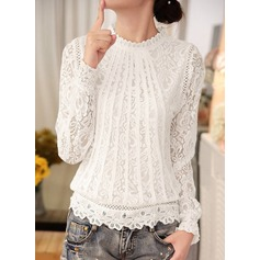Plain Long Sleeves Lace Round Neck Casual Blouses Blouses (1003159984)