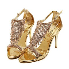 Women's Leatherette Stiletto Heel Sandals Pumps Peep Toe With Crystal Buckle Tassel shoes