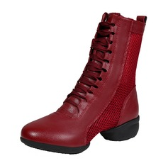 Women's Leatherette Mesh Boots Modern Jazz Sneakers Dance Boots Dance Shoes