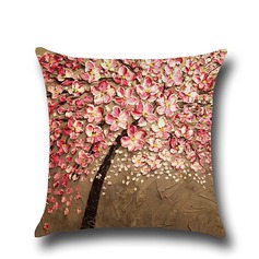 Oil painting three-dimensional tree Vintage Linen Pillowcases (Sold in a single piece)