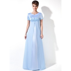 Empire V-neck Floor-Length Chiffon Satin Maternity Bridesmaid Dress With Beading (045025997)