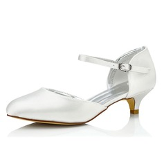 Women's Satin Low Heel Pumps Dyeable Shoes
