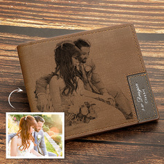 Groomsmen Gifts - Personalized Mens Custom Engraved Photo Engraved Leather Wallet (258235252)