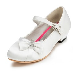 Girl's Closed Toe Satin Flat Heel Flower Girl Shoes With Bowknot Rhinestone
