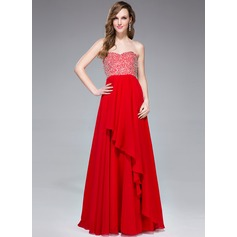 Empire Sweetheart Floor-Length Chiffon Prom Dress With Beading Sequins Cascading Ruffles