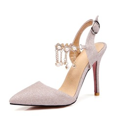 Women's Lace Spool Heel Closed Toe Pumps With Chain