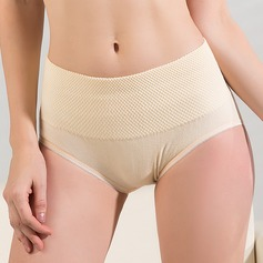 Women Casual Polyester/Cotton Breathability Mid-Rise Panties With Embroidery Shapewear