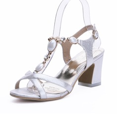 Women's Leatherette Chunky Heel Sandals Slingbacks shoes (087090372)