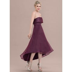 A-Line/Princess Strapless Asymmetrical Organza Bridesmaid Dress