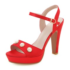 Women's Leatherette Chunky Heel Sandals Pumps Platform Peep Toe With Hollow-out shoes