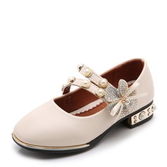 Jentas Lukket Tå Leather flat Heel Flower Girl Shoes med Profilering Velcro Blomst