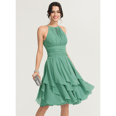 A-Line/Princess Scoop Neck Knee-Length Chiffon Cocktail Dress With Ruffle Cascading Ruffles (016170853)