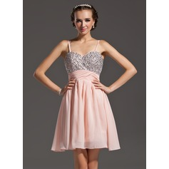A-Line/Princess Sweetheart Short/Mini Chiffon Homecoming Dress With Beading