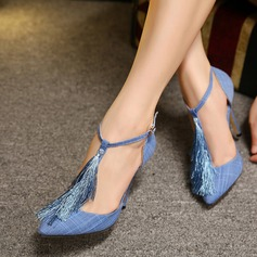Women's Cloth Stiletto Heel Closed Toe Pumps With Tassel