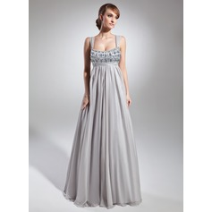 Empire Scoop Neck Floor-Length Chiffon Prom Dresses With Ruffle Beading
