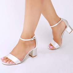 Women s Satin Chunky Heel Peep Toe Sandals With Buckle