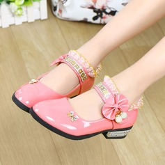 Girl's Closed Toe Leatherette Flat Heel Flats Flower Girl Shoes With Bowknot Rhinestone Stitching Lace Velcro