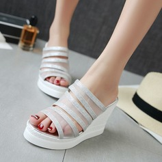 Women's Lace Leatherette Wedge Heel Peep Toe Sandals Slingbacks