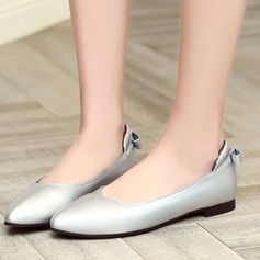 Women's Leatherette Flat Heel Flats Closed Toe With Bowknot shoes (086119359)