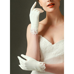 Satin Wrist Length Bridal Gloves With Embroidery (014225724)