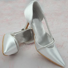 Women's Leatherette Chunky Heel Closed Toe With Crystal