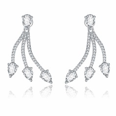 Chic Copper/Zircon/S925 Sliver Ladies' Earrings