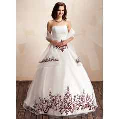 Ball-Gown Strapless Floor-Length Organza Quinceanera Dress With Embroidered Ruffle Beading Sequins
