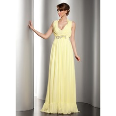 A-Line/Princess Halter V-neck Floor-Length Chiffon Holiday Dress With Ruffle Beading (020014532)