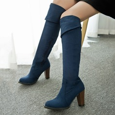 Women's Suede Chunky Heel Knee High Boots shoes