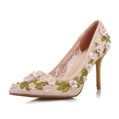 Women's Leatherette Stiletto Heel Closed Toe Pumps With Sequin Flower
