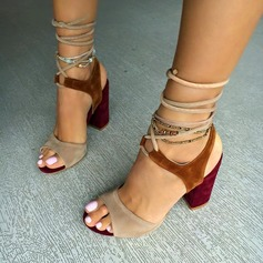 Women's Suede Chunky Heel Sandals With Lace-up shoes (087114602)