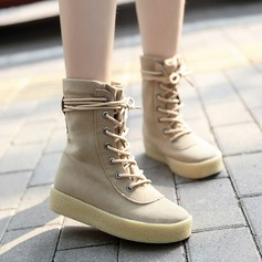 Women's Suede Flat Heel Platform Ankle Boots Martin Boots With Braided Strap shoes