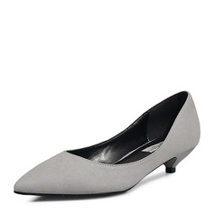 Women's Suede Low Heel Pumps Closed Toe With Others shoes (085155284)