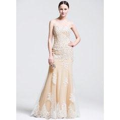 Trumpet/Mermaid Sweetheart Floor-Length Tulle Evening Dress With Beading Appliques Lace Sequins