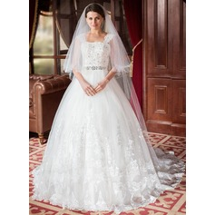 One-tier Chapel Bridal Veils With Cut Edge