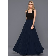 Floor-Length Chiffon Cocktail Dress With Pleated (270232911)