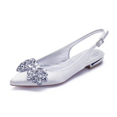 Women's Satin Flat Heel Pumps With Rhinestone