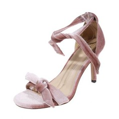 Women's Suede Stiletto Heel Pumps Sandals With Bowknot
