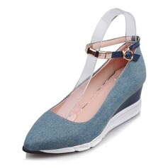 Women's Microfiber Leather Wedge Heel Wedges With Buckle shoes