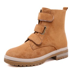 Women's Suede Chunky Heel Platform Boots Snow Boots Martin Boots With Buckle shoes