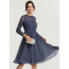 High Neck Knee-Length Chiffon Cocktail Dress (270214151)