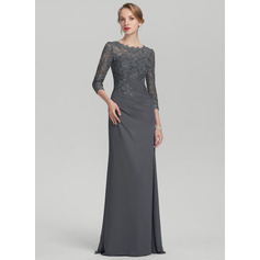 A-Line/Princess Scoop Neck Floor-Length Chiffon Lace Mother of the Bride Dress With Ruffle (008114260)