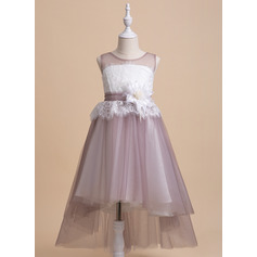 A-Line Asymmetrical Flower Girl Dress - Sleeveless Scalloped Neck With Lace/Flower(s)/Bow(s)