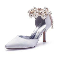 Women's Satin Stiletto Heel Pumps With Pearl