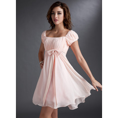 Empire Square Neckline Short/Mini Chiffon Homecoming Dress With Ruffle Beading Sequins Bow(s) (300244047)