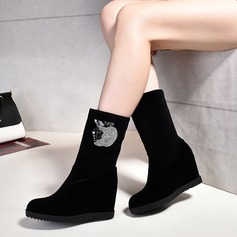 Women's Suede Wedge Heel Boots With Others shoes