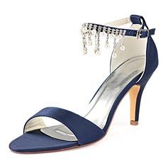 Women's Silk Like Satin Stiletto Heel Peep Toe Pumps With Crystal Pearl