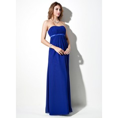 Empire Sweetheart Floor-Length Chiffon Maternity Bridesmaid Dress With Sash (045022459)